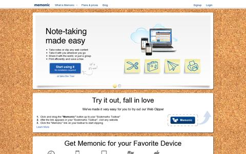 Screenshot of Home Page memonic.com - Memonic - The Collaborative Online Notebook - captured July 17, 2014