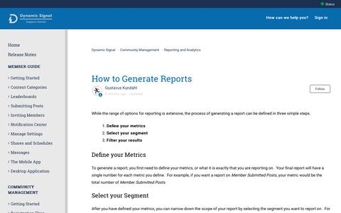Screenshot of Support Page dynamicsignal.com - How to Generate Reports – Dynamic Signal - captured Nov. 4, 2019