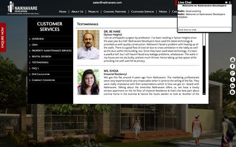 Screenshot of Testimonials Page naiknavare.com - Find about services offered by Naiknavare Developers Pvt. Ltd here - captured Nov. 15, 2017