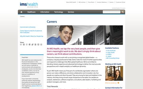 Screenshot of Jobs Page imshealth.com - Careers - captured Oct. 10, 2014