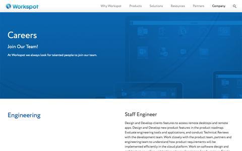 Screenshot of Jobs Page workspot.com - (2) New Messages! - captured Feb. 21, 2019