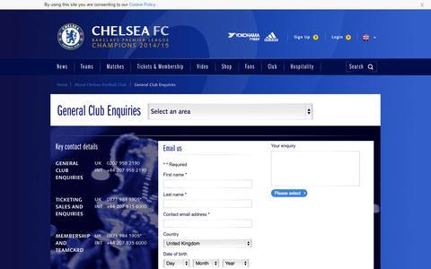 Screenshot of FAQ Page chelseafc.com - General Club Enquiries   The Club   Official Site   Chelsea Football Club - captured Nov. 25, 2015