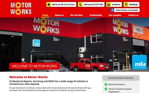 Screenshot of Home Page motorworks.co.nz - Home - Motor Works - Professional Repairs, Servicing, WOFs - Christchurch, New Zealand - captured Sept. 20, 2018