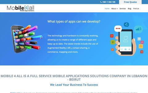 Screenshot of Services Page mobile-4all.com - Mobile Applications - Mobile Apps Solutions - Mobile App Development - Mobile 4 All Lebanon Beirut - captured Dec. 11, 2017