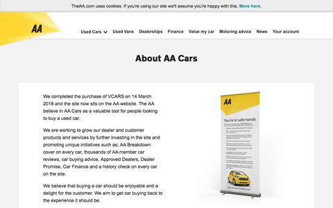 Screenshot of About Page theaa.com - About Us | AA Cars - captured Sept. 20, 2018