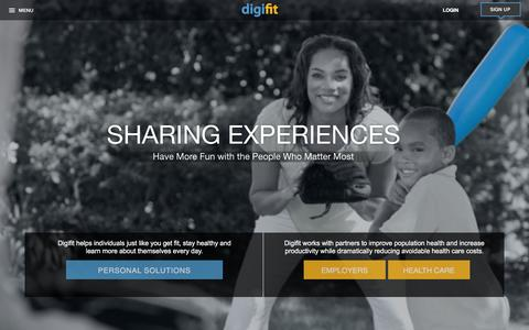 Screenshot of Home Page digifit.com - Digifit | Personal and Corporate Wellness Solutions for Fiitness and Health Care - captured Jan. 17, 2016