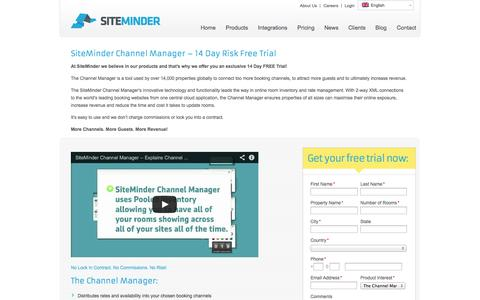 Screenshot of Trial Page siteminder.com - Channel Manager by SiteMinder – 14 Day Free Trial - captured Oct. 10, 2014