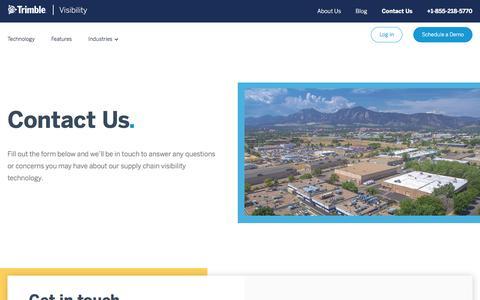 Screenshot of Contact Page trimble.com - Contact Trimble Visibility | Leading Supply Chain Visibility Platform - captured Dec. 21, 2019