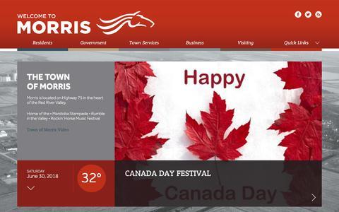 Screenshot of Home Page townofmorris.ca - Town of Morris, Manitoba, Canada - captured June 30, 2018