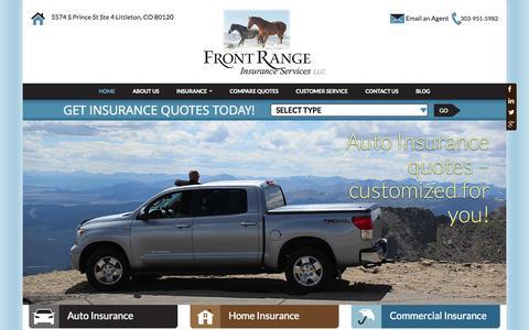 Screenshot of Home Page frontrangeinsurance.com - Littleton, CO Insurance Agents | Front Range Insurance Services | Colorado - captured Sept. 11, 2015