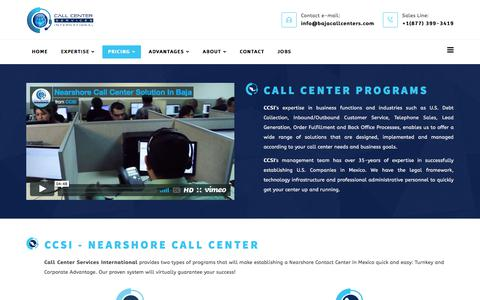 Screenshot of Pricing Page bajacallcenters.com - Call Center Services Pricing Programs | Call Center Services International - captured July 11, 2017