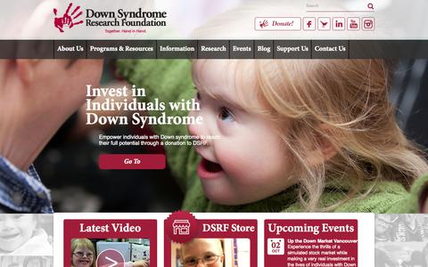 Screenshot of Home Page Privacy Page dsrf.org - Down Syndrome Research Foundation - captured Oct. 5, 2014