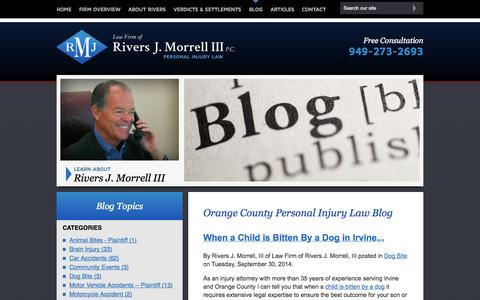 Screenshot of Blog rjmlawfirm.com - Orange County Personal Injury Law Blog | Law Firm of Rivers J. Morrell, III - captured Oct. 2, 2014