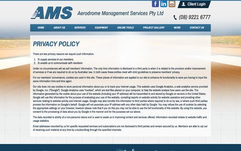 Screenshot of Privacy Page amsaustralia.com - Privacy Policy | Aerodrome Management Services Pty Ltd - captured Feb. 5, 2016