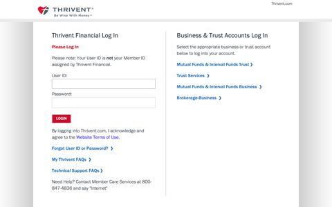 Screenshot of Login Page thrivent.com - Thrivent Financial - captured June 12, 2019
