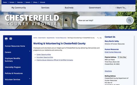 Screenshot of Jobs Page chesterfield.gov - Working & Volunteering in Chesterfield County | Chesterfield County, VA - captured Sept. 22, 2018
