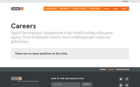 Screenshot of Jobs Page ddmagency.com - Careers - Digital Development Management - captured Oct. 12, 2017
