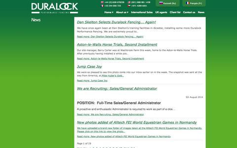 Screenshot of Press Page duralock.com - News - captured Oct. 5, 2014