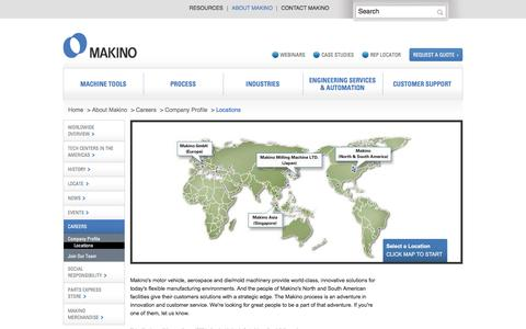Screenshot of Locations Page makino.com - About Makino | Worldwide Metal-Cutting Leader - captured July 22, 2016