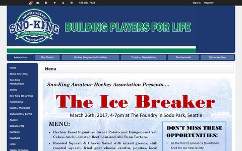 Screenshot of Menu Page leagueathletics.com - Menu   Sno-King Amateur Hockey Association - captured Nov. 2, 2017