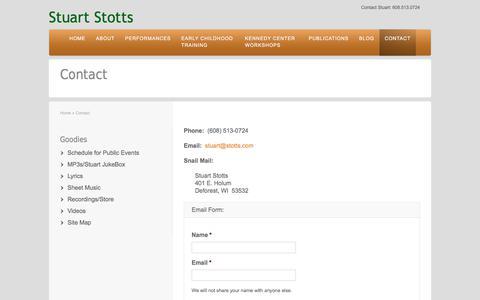 Screenshot of Contact Page stuartstotts.com - Contact Stuart Stotts   Stuart Stotts - captured Nov. 10, 2017