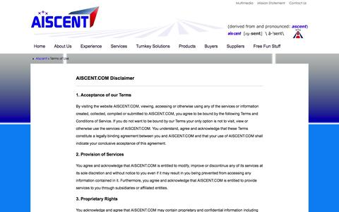 Screenshot of Terms Page aiscent.com - Terms of Use - Aiscent - captured Feb. 4, 2016
