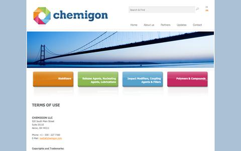 Screenshot of Terms Page chemigon.com - Terms of use - captured Oct. 6, 2016