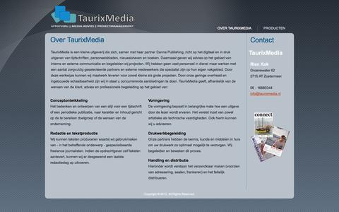 Screenshot of Home Page taurixmedia.nl - Over TaurixMedia - captured Sept. 30, 2014