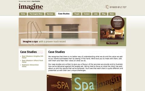 Screenshot of Case Studies Page imaginespamanagement.co.uk - Case Studies | Imagine Spa Management - captured Oct. 6, 2014