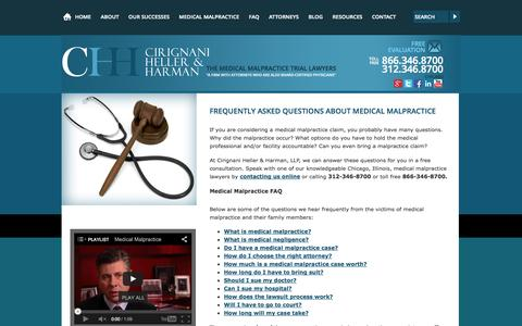 Screenshot of FAQ Page cirignani.com - Medical Malpractice FAQ | What Are the Most Asked Questions About Medical Malpractice? - captured Oct. 2, 2014