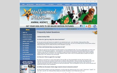 Screenshot of FAQ Page hollywoodpaws.com - Hollywood Paws - Dog and Cat Training FAQs - captured Sept. 30, 2014