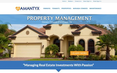 Screenshot of Home Page amantyx.com - Orlando Property Management Services by AMANTYX - captured Oct. 4, 2014