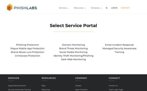 Screenshot of Login Page phishlabs.com - Client Login Page   PhishLabs - captured June 15, 2019