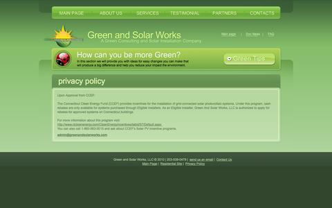 Screenshot of Privacy Page greenandsolarworks.com - Green and Solar Works - Residential - Privacy Page - captured Oct. 3, 2014