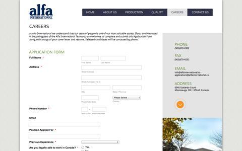 Screenshot of Jobs Page alfainternational.ca - Alfa International - Careers - captured Oct. 4, 2014