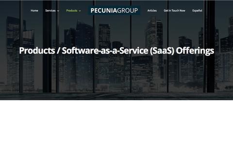 Screenshot of Products Page pecuniagroup.com - Products - Pecunia Group, Inc. - captured Sept. 24, 2018