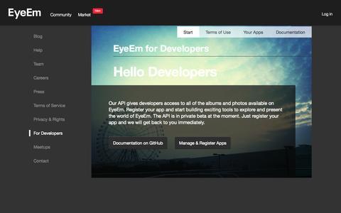 Screenshot of Developers Page eyeem.com - EyeEm - captured Sept. 13, 2014
