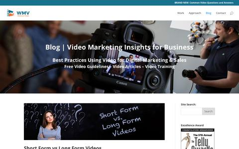 Screenshot of Blog wemakevideos.com - Blog | Video Marketing Insights for Business | WMV Video Productions - captured Nov. 2, 2018