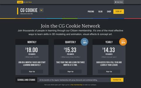 Screenshot of Signup Page cgcookie.com - Membership - CG Cookie - captured Oct. 28, 2014