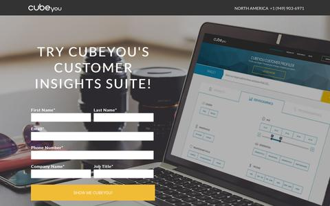 Screenshot of Contact Page cubeyou.com - Try Cubeyou's Customer Insights Suite NOW! - captured Dec. 4, 2015
