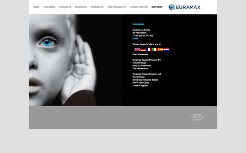 Screenshot of Contact Page euramax.eu - Contact information Euramax Coated Products - captured Oct. 28, 2014