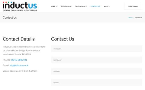 Screenshot of Contact Page inductus.co.uk - Contact Us – Inductus - captured Oct. 11, 2018