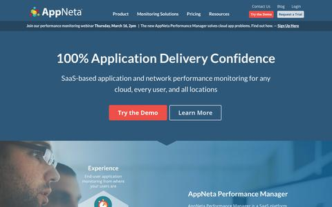 Screenshot of Home Page appneta.com - AppNeta | Award-Winning Application Performance Monitoring Solutions - captured March 14, 2017