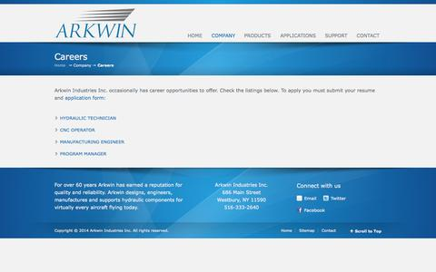 Screenshot of Jobs Page arkwin.com - Careers - Arkwin Industries Inc. - captured Oct. 4, 2014