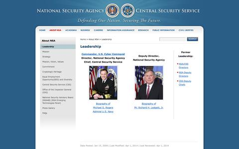 Screenshot of Team Page nsa.gov - Leadership - NSA/CSS - captured Oct. 9, 2014