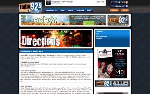 Screenshot of Maps & Directions Page myradio929.com - Directions - Radio 929 - captured Oct. 27, 2014