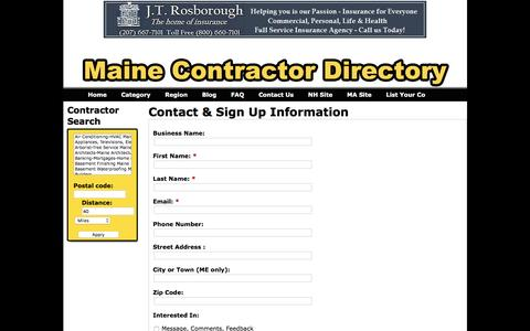 Screenshot of Contact Page mainecontractordirectory.com - Contact & Sign Up Information - Maine Contractor Directory - captured Dec. 21, 2015