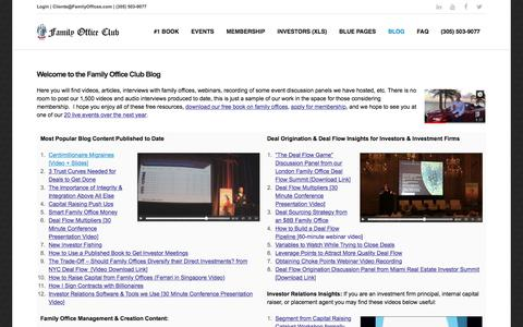 Screenshot of Blog familyoffices.com - Welcome to the Family Office Club Blog - captured Sept. 21, 2018