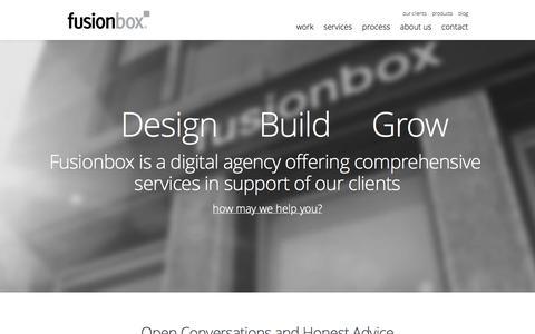 Screenshot of Home Page fusionbox.com - Denver Web Design and Web Development Company | Fusionbox - captured Jan. 21, 2015