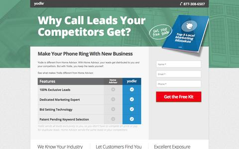 Screenshot of Landing Page yodle.com - Home Advisor v. Yodle: Why Call Leads Your Competitors Get? - captured Oct. 27, 2014